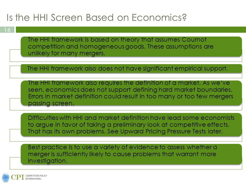 Is the HHI Screen Based on Economics