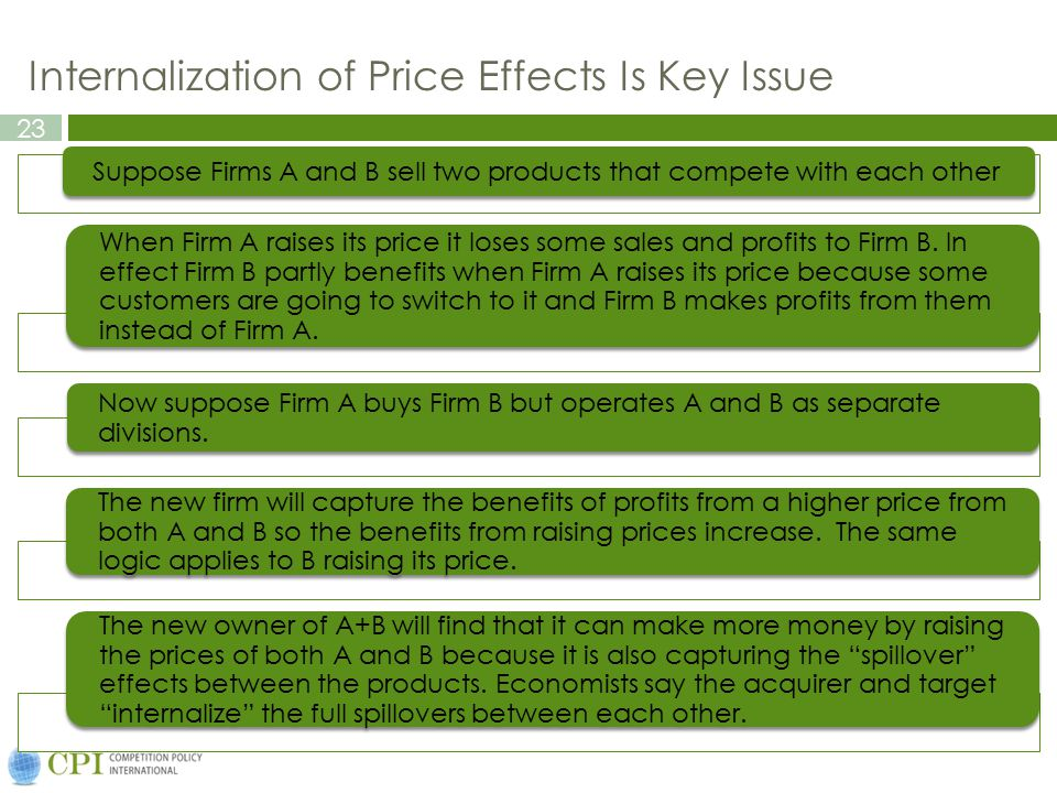 Internalization of Price Effects Is Key Issue