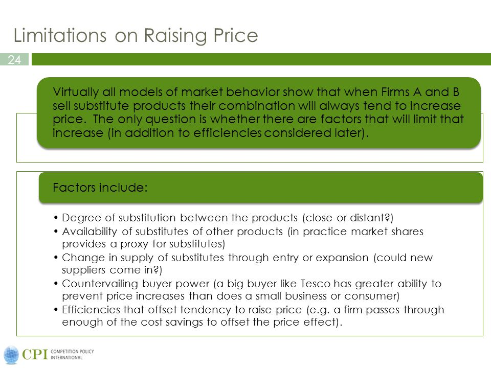 Limitations on Raising Price