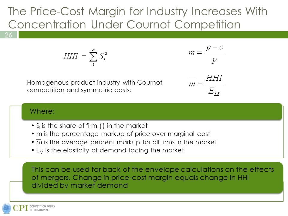 The Price-Cost Margin for Industry Increases With Concentration Under Cournot Competition