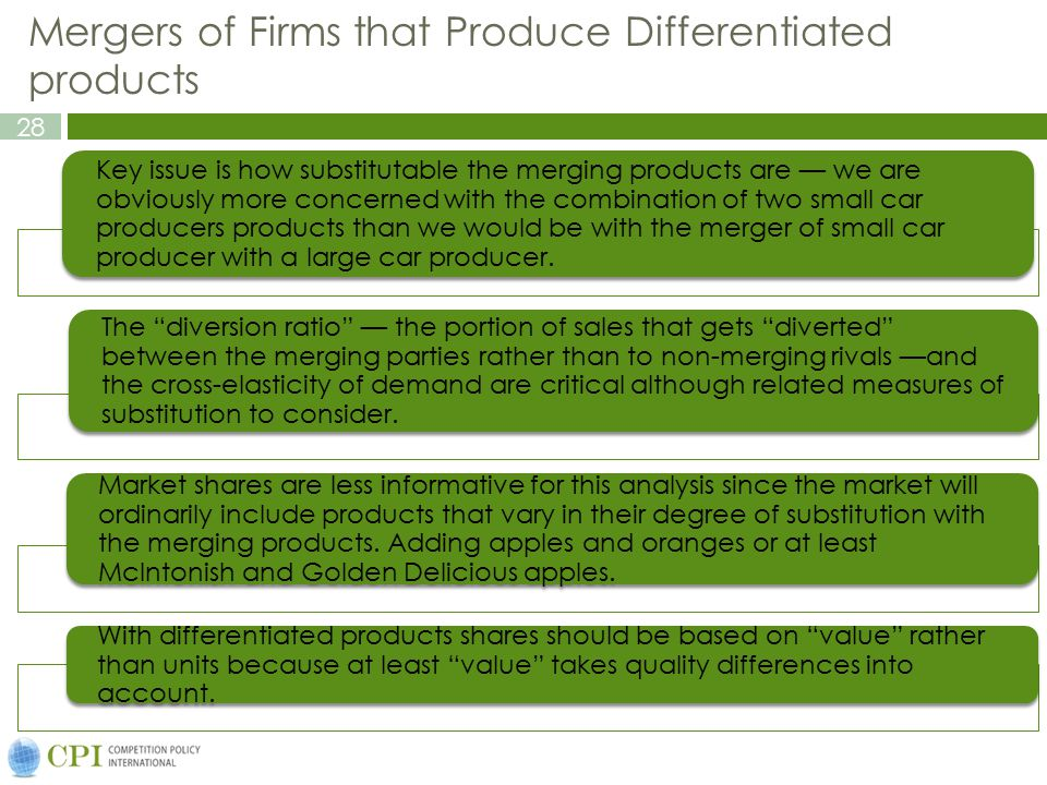 Mergers of Firms that Produce Differentiated products