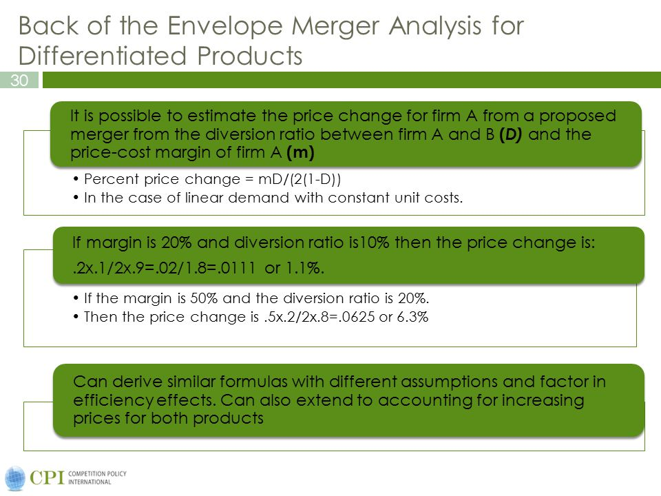 Back of the Envelope Merger Analysis for Differentiated Products