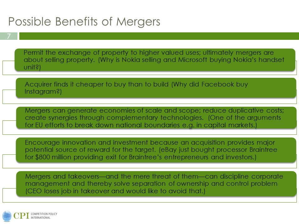Possible Benefits of Mergers