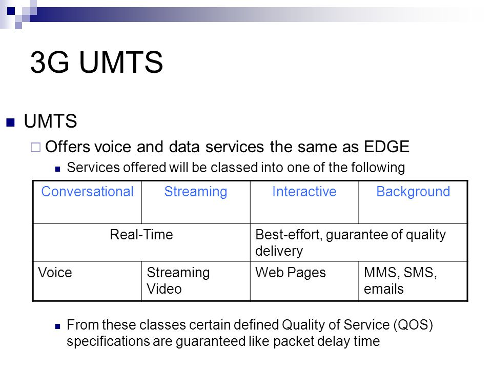 3G UMTS UMTS Offers voice and data services the same as EDGE
