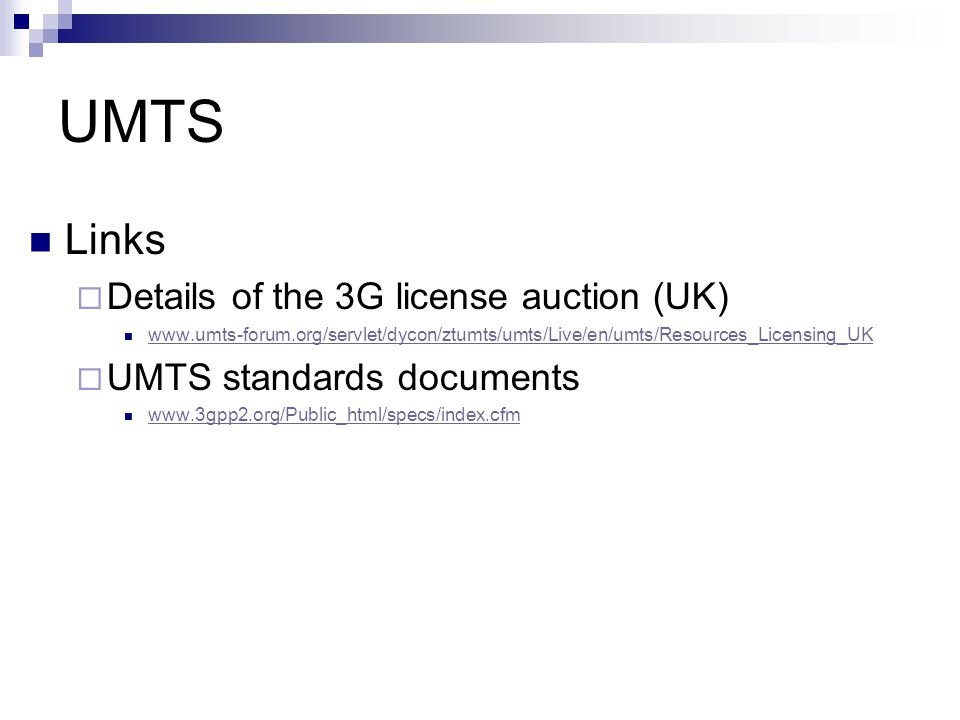 UMTS Links Details of the 3G license auction (UK)