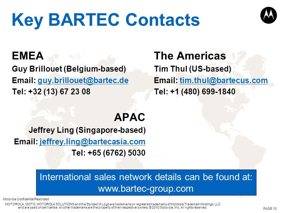 Key BARTEC Contacts EMEA APAC The Americas