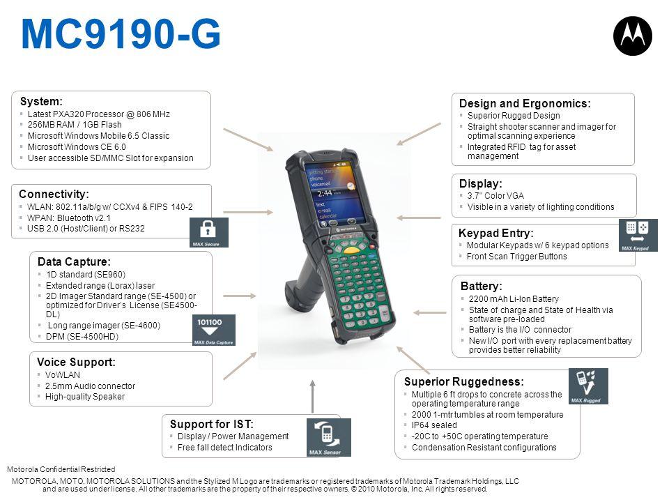 MC9190-G System: Design and Ergonomics: Display: Connectivity: