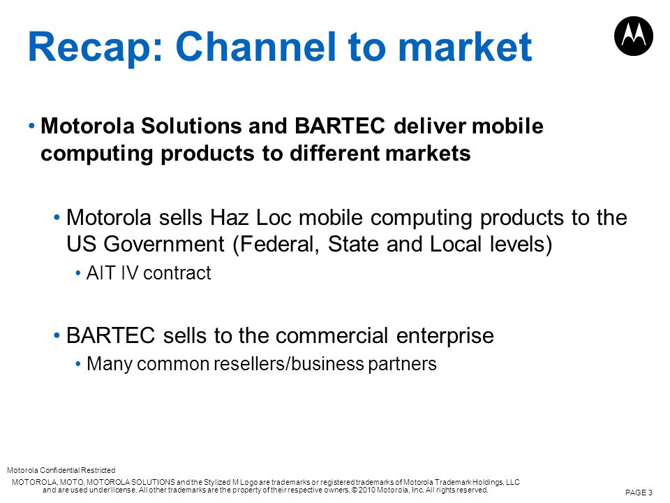 Recap: Channel to market