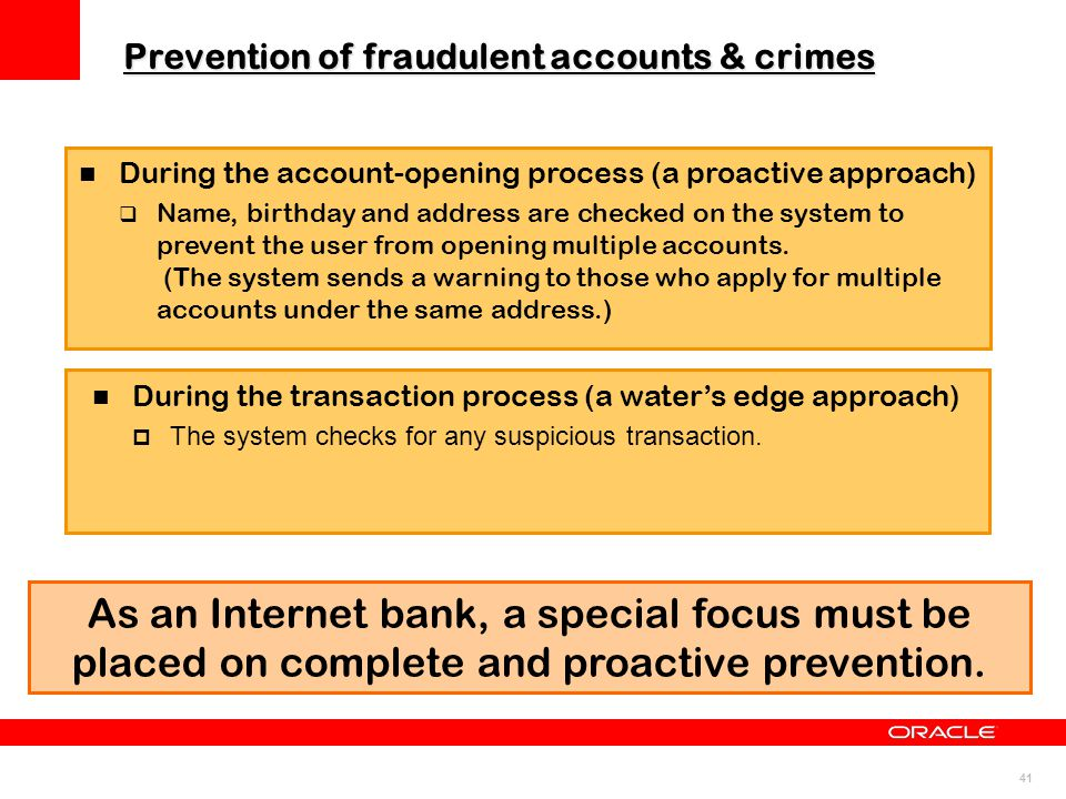 Prevention of fraudulent accounts & crimes