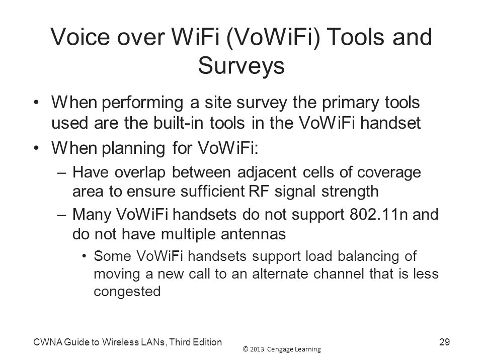 Voice over WiFi (VoWiFi) Tools and Surveys