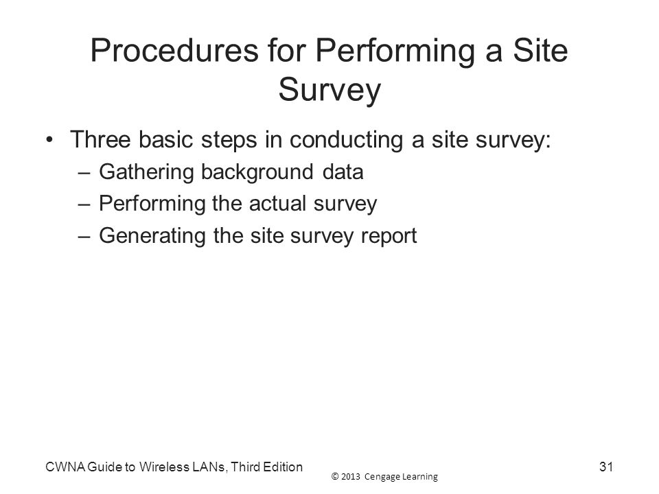 Procedures for Performing a Site Survey