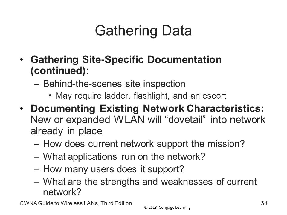 Gathering Data Gathering Site-Specific Documentation (continued):