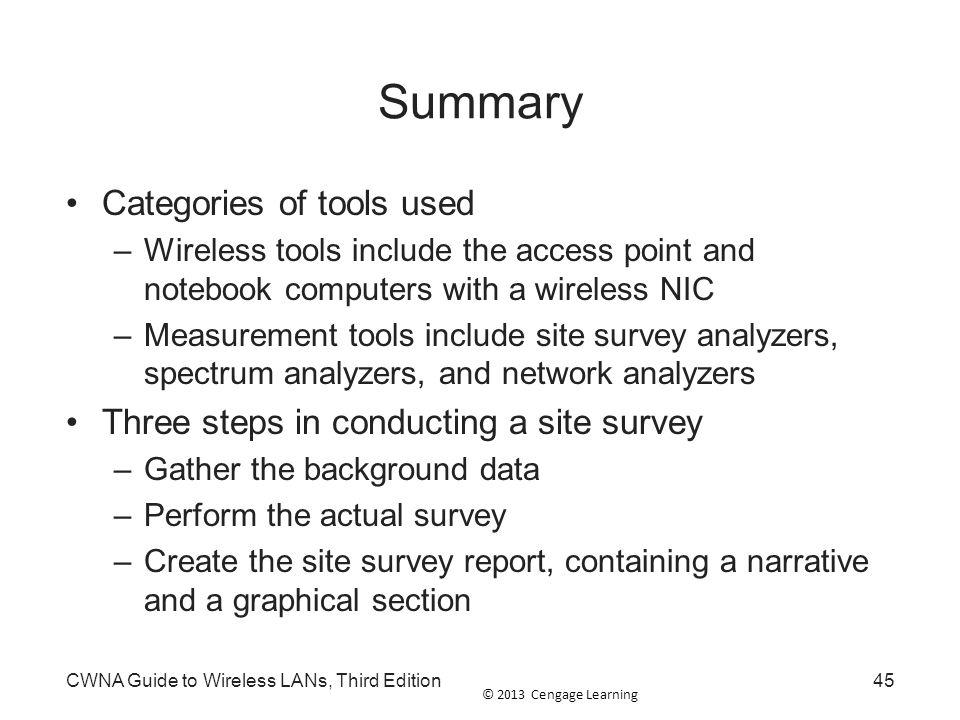 Summary Categories of tools used