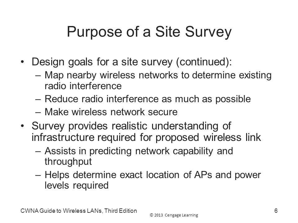 Purpose of a Site Survey