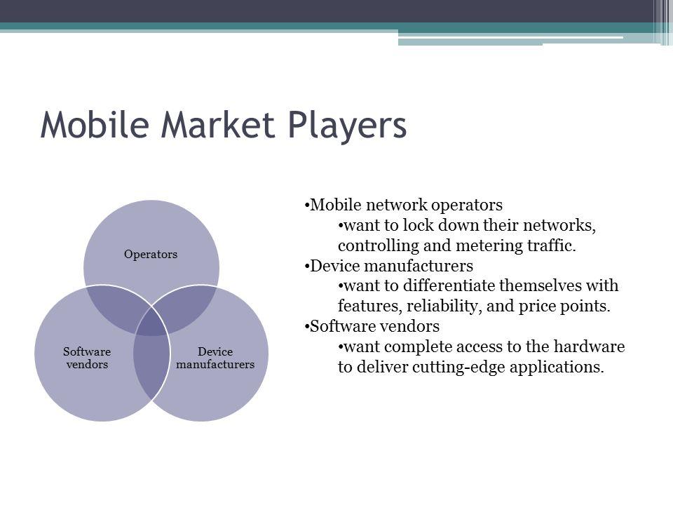 Mobile Market Players Mobile network operators