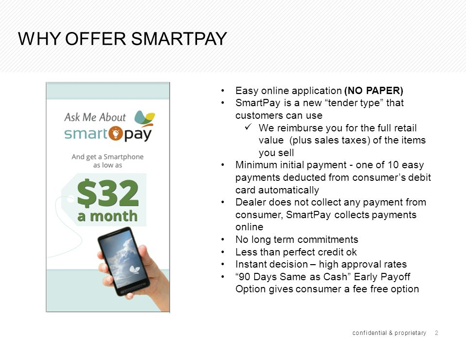 What do I need to offer smartpay