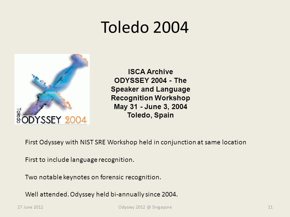ODYSSEY 2004 - The Speaker and Language Recognition Workshop