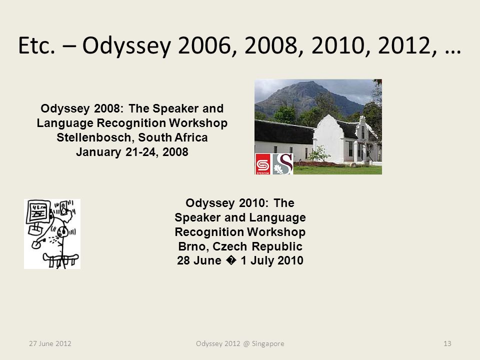 Etc. – Odyssey 2006, 2008, 2010, 2012, … Odyssey 2008: The Speaker and Language Recognition Workshop.