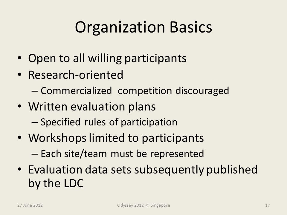 Organization Basics Open to all willing participants Research-oriented