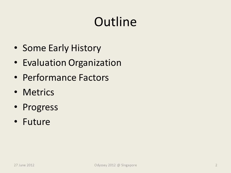 Outline Some Early History Evaluation Organization Performance Factors
