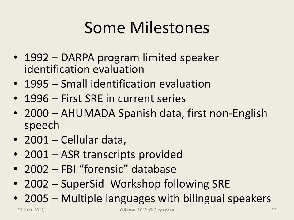 Some Milestones 1992 – DARPA program limited speaker identification evaluation. 1995 – Small identification evaluation.