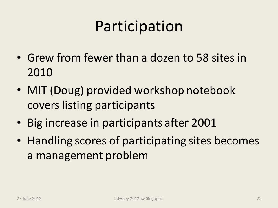Participation Grew from fewer than a dozen to 58 sites in 2010