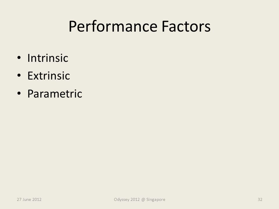 Performance Factors Intrinsic Extrinsic Parametric 27 June 2012