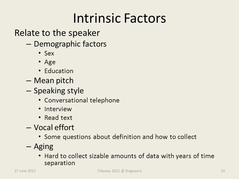 Intrinsic Factors Relate to the speaker Demographic factors Mean pitch