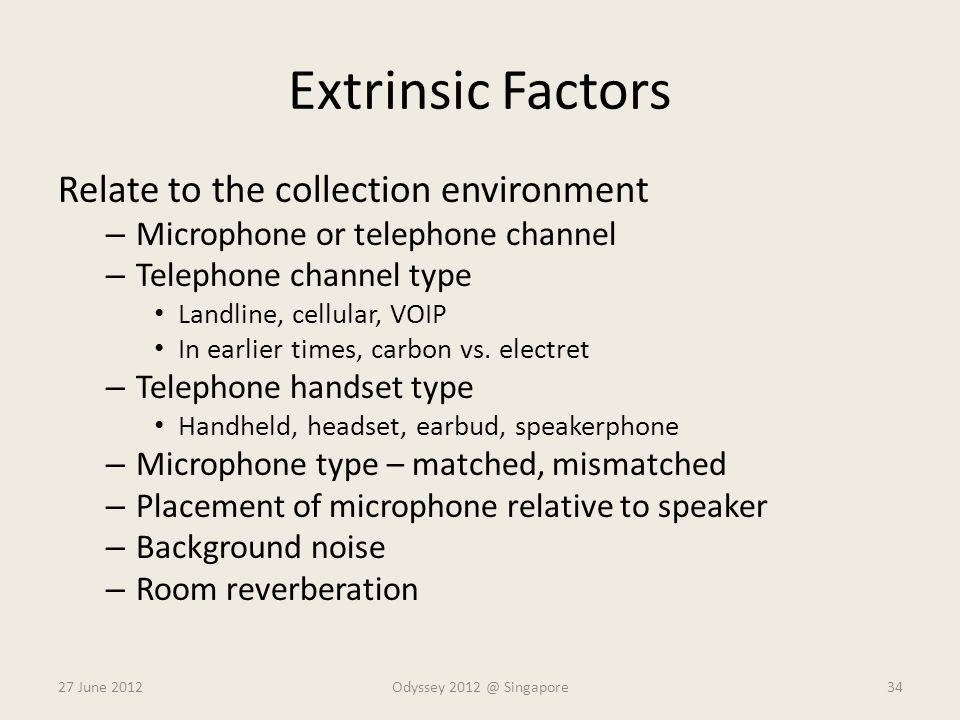 Extrinsic Factors Relate to the collection environment