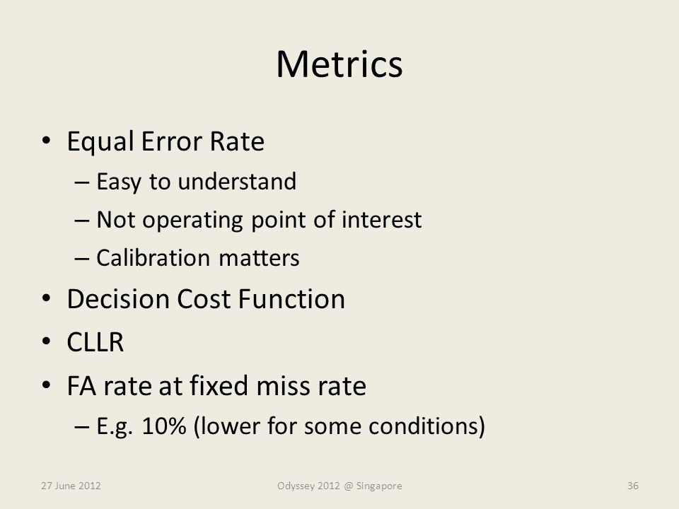 Metrics Equal Error Rate Decision Cost Function CLLR