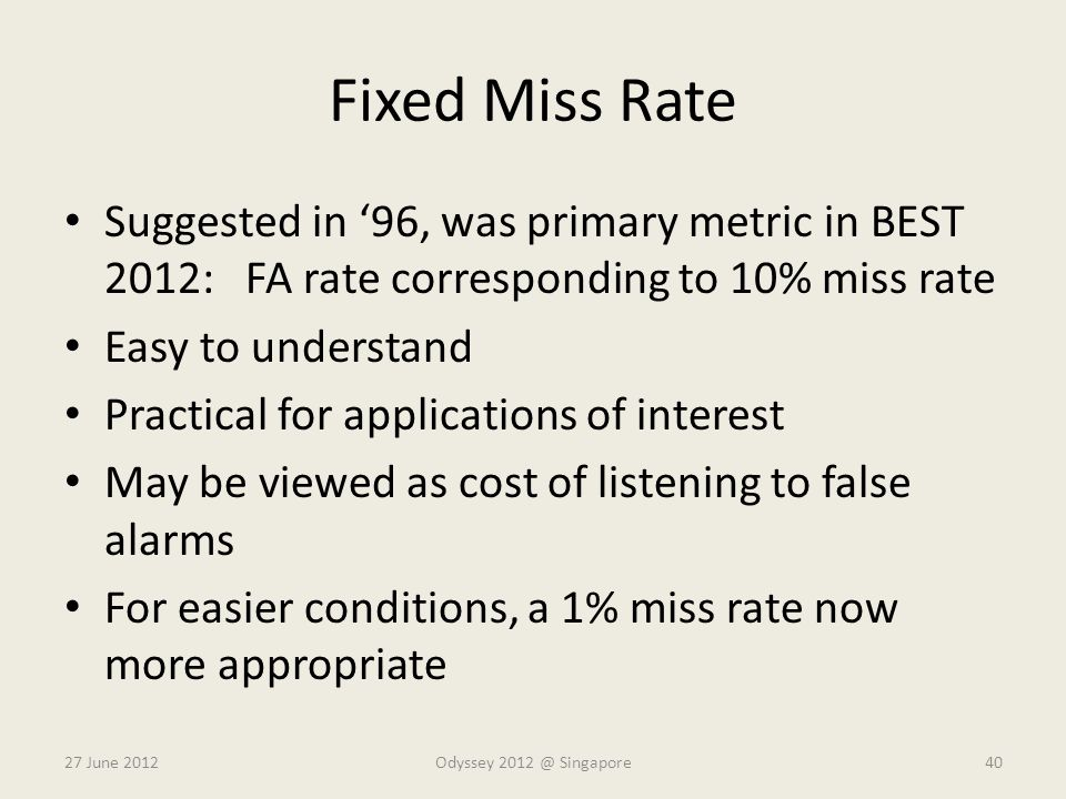 Fixed Miss Rate Suggested in '96, was primary metric in BEST 2012: FA rate corresponding to 10% miss rate.