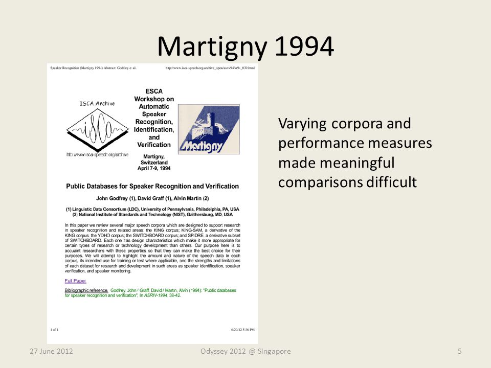 Martigny 1994 Varying corpora and performance measures made meaningful