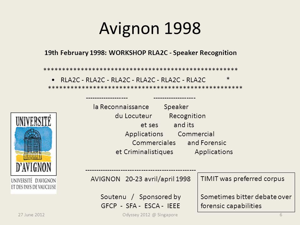 19th February 1998: WORKSHOP RLA2C - Speaker Recognition