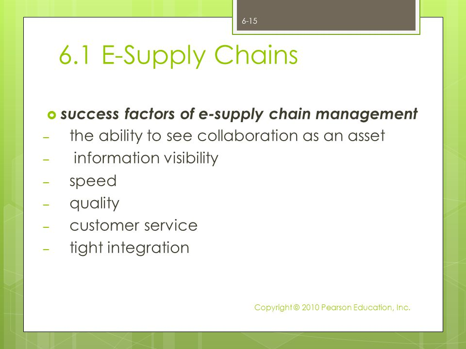 6.1 E-Supply Chains success factors of e-supply chain management
