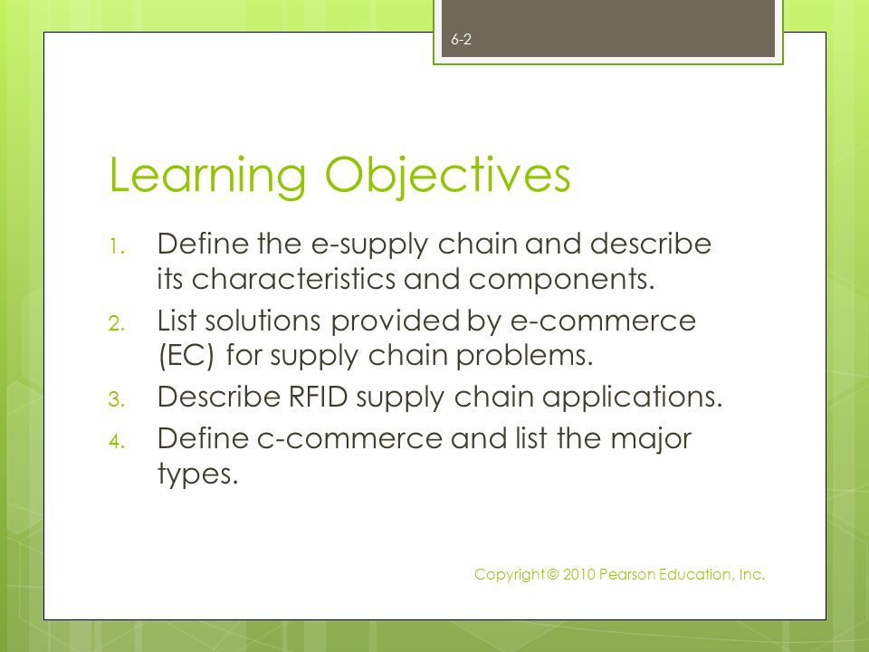 Learning Objectives Define the e-supply chain and describe its characteristics and components.