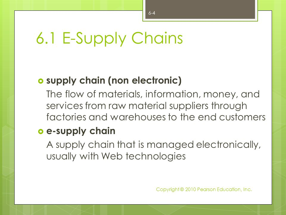 6.1 E-Supply Chains supply chain (non electronic)