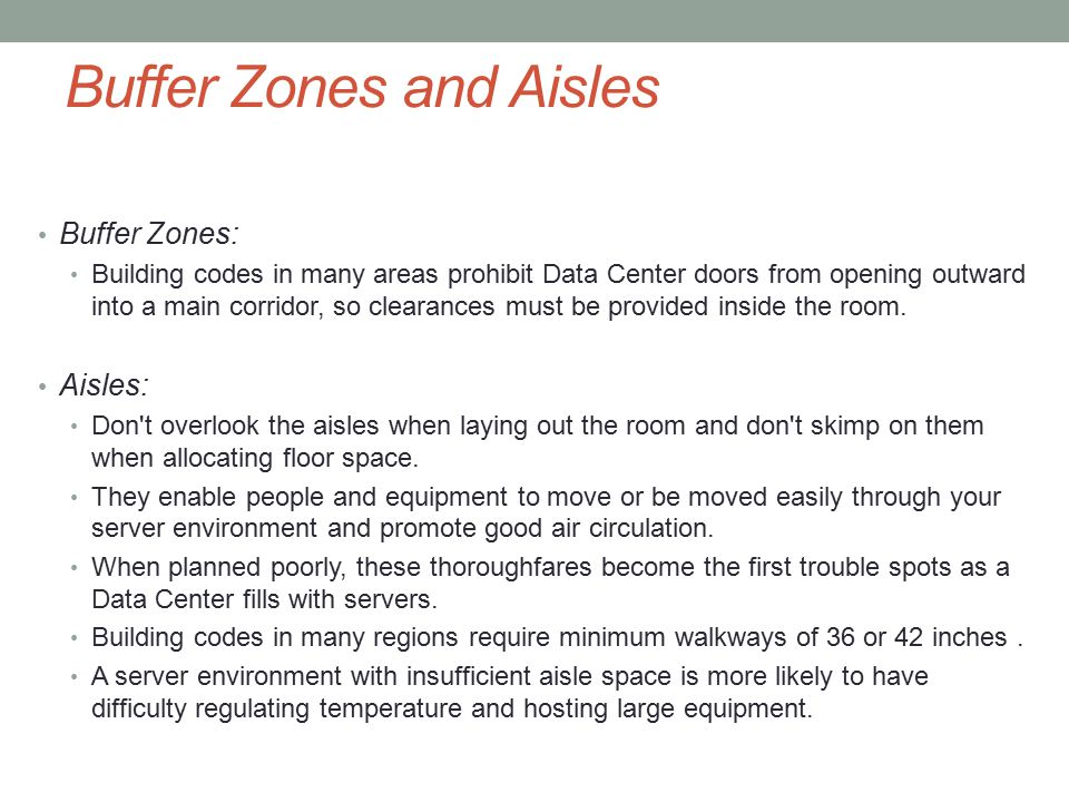 Buffer Zones and Aisles