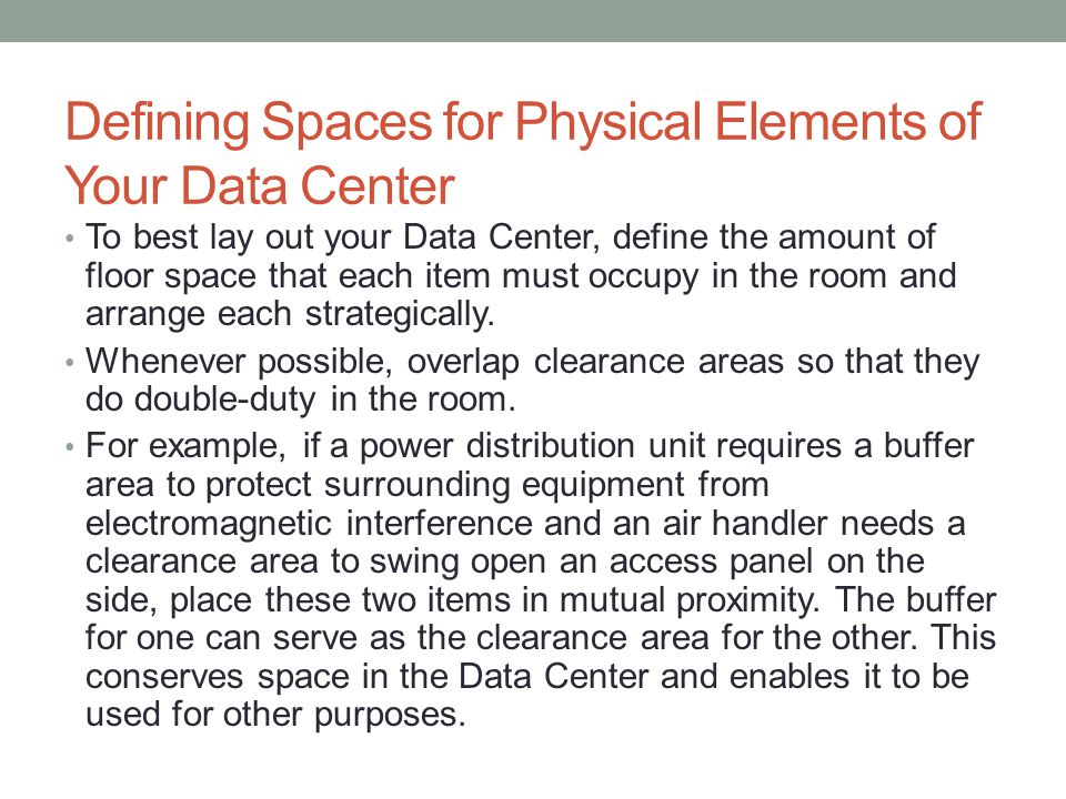 Defining Spaces for Physical Elements of Your Data Center