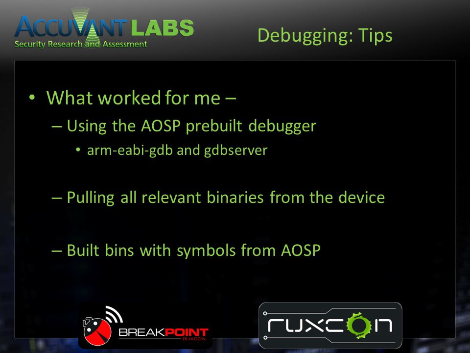 Debugging: Tips What worked for me – Using the AOSP prebuilt debugger