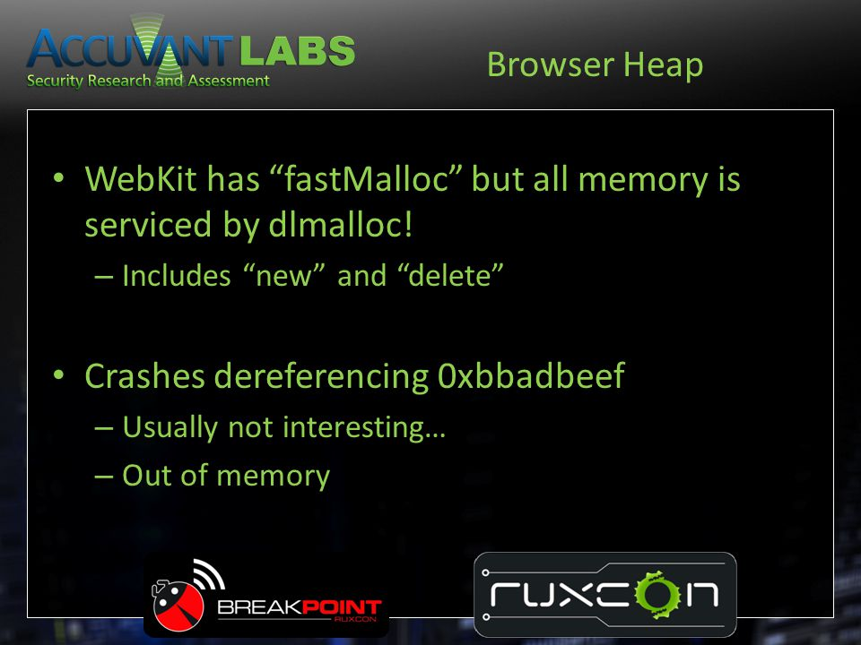 WebKit has fastMalloc but all memory is serviced by dlmalloc!