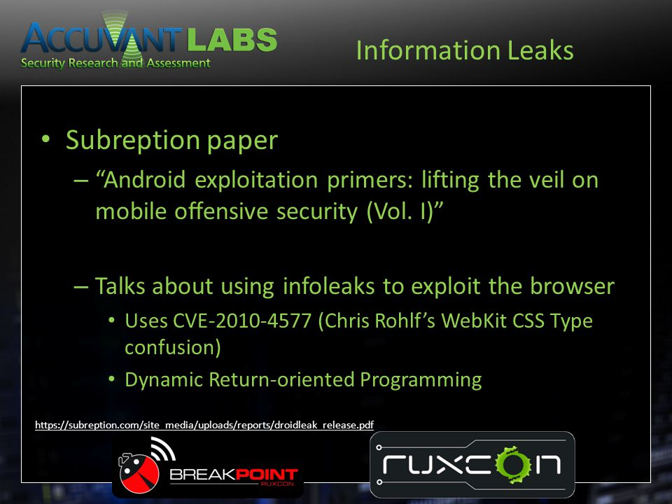 Information Leaks Subreption paper