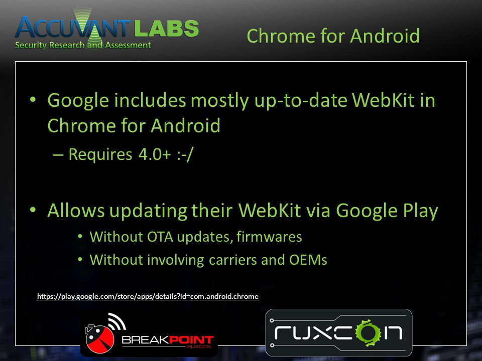 Google includes mostly up-to-date WebKit in Chrome for Android