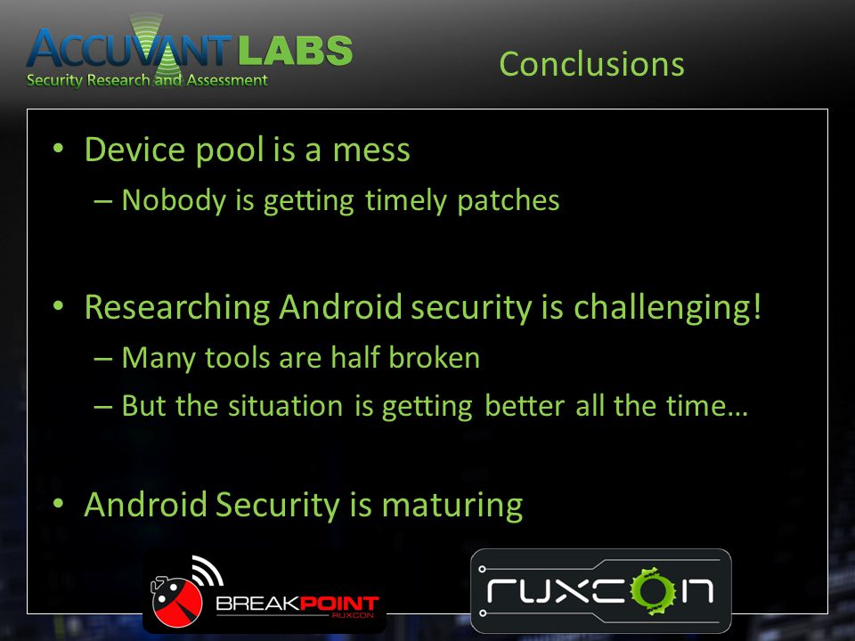 Researching Android security is challenging!