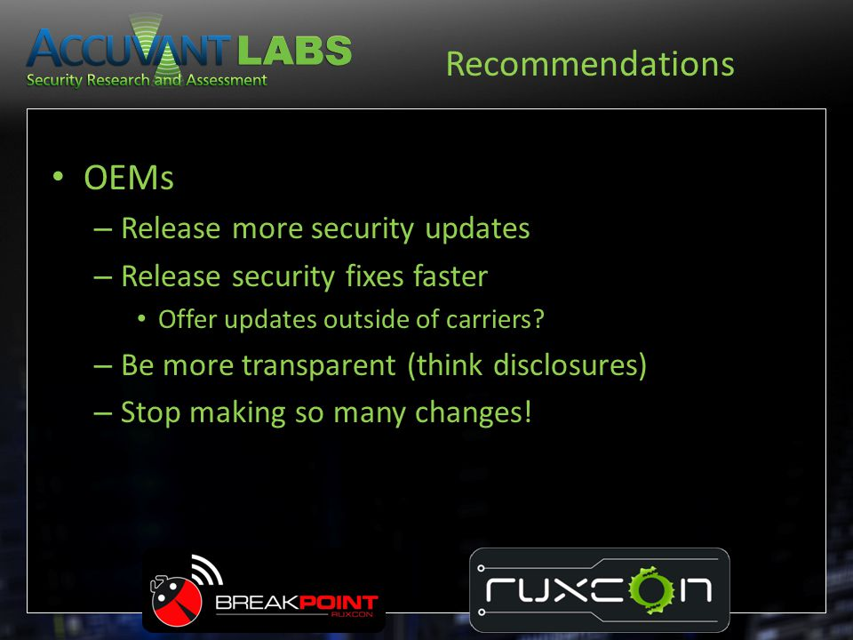 Recommendations OEMs Release more security updates
