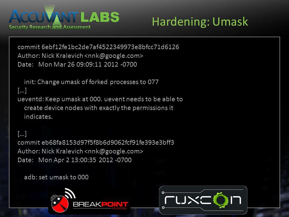 Hardening: Umask commit 6ebf12fe1bc2de7af4522349973e8bfcc71d6126
