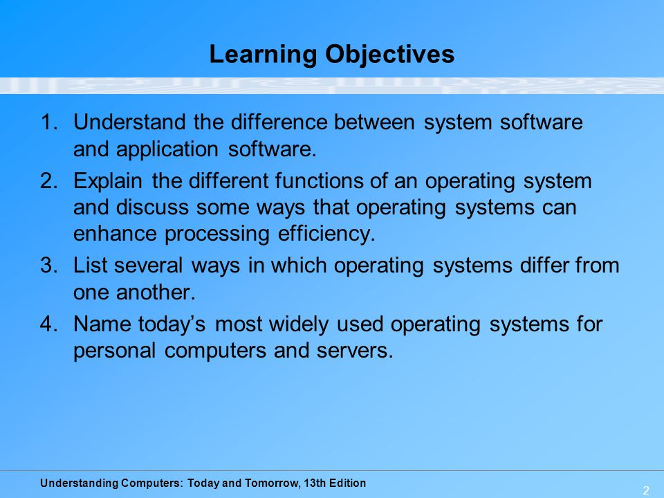 Learning Objectives Understand the difference between system software and application software.