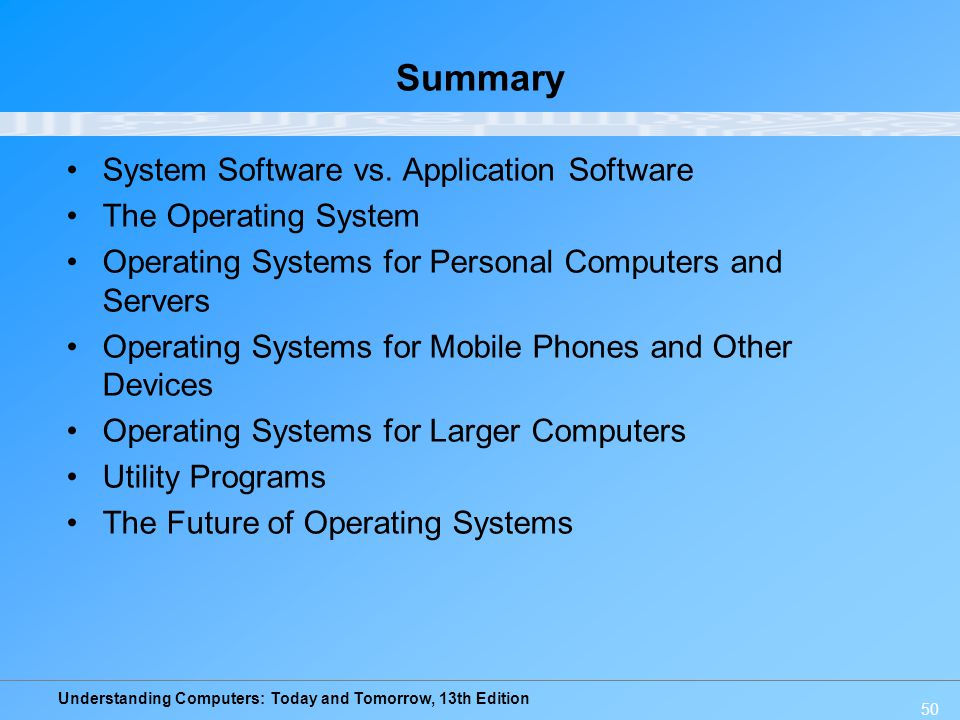 Summary System Software vs. Application Software The Operating System