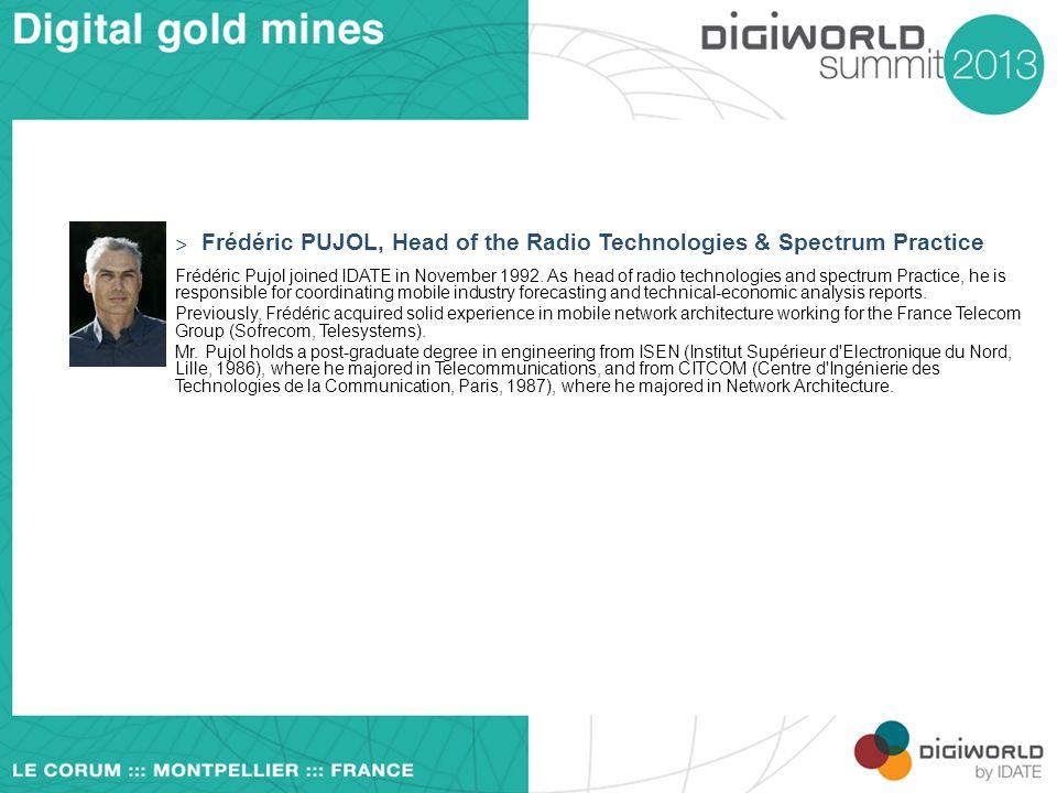 Frédéric PUJOL, Head of the Radio Technologies & Spectrum Practice