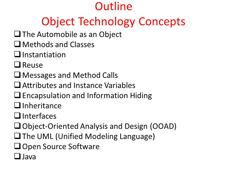 Outline Object Technology Concepts