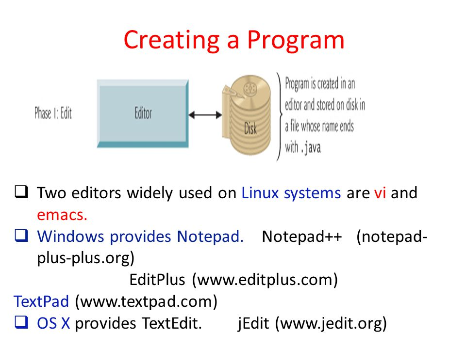 Creating a Program Two editors widely used on Linux systems are vi and emacs. Windows provides Notepad. Notepad++ (notepad-plus-plus.org)